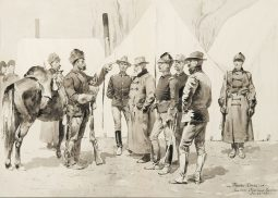 At the Mouth of Rapid Creek—General Carr Receiving the Report of a Scout