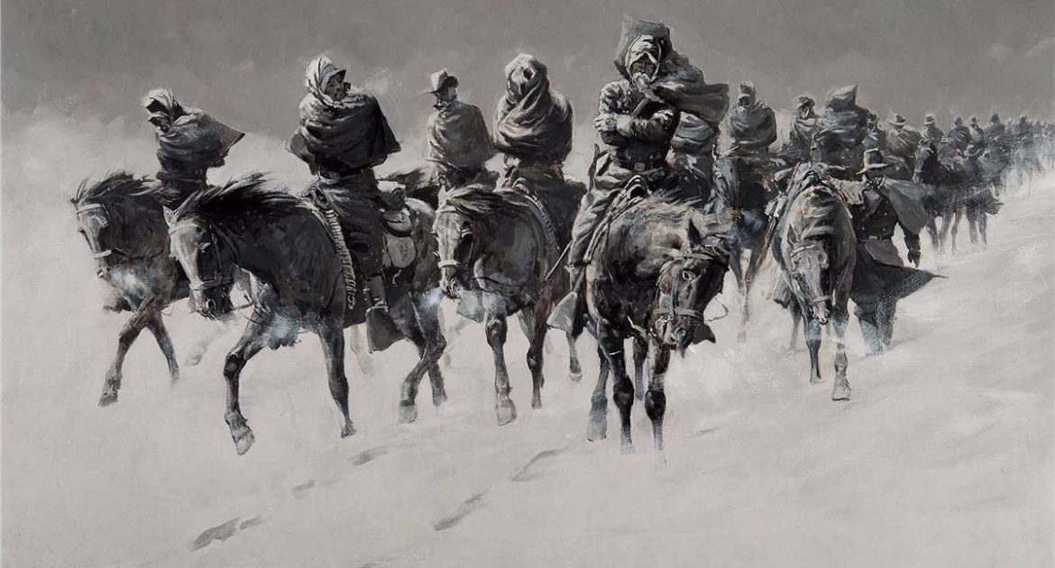 black and white painting of many horses and riders in a snowstorm