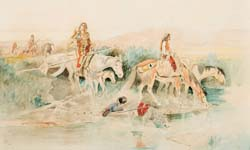 Indian Women Crossing Stream 1894