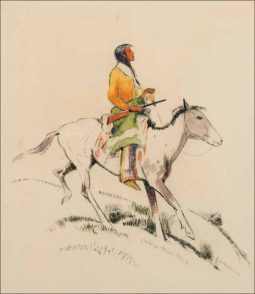 Indian on Pinto Pony Facing Right