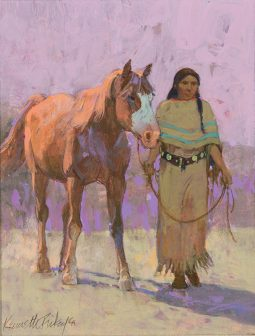 Indian Woman Leading a Horse