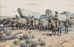 Santa Fe Wagons Fording the Cimarron