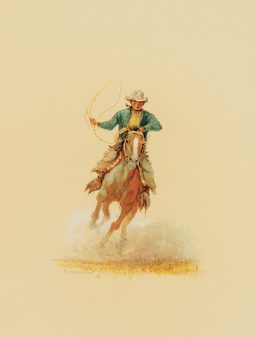 Cowboy Roping on Horseback