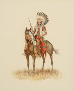 Indian on Horse Looking Left