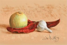 Still Life with Onion, Chilies and Garlic